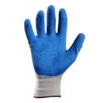 Перчатки нейлоновые с рифленым латексным покрытием (серо-синий)